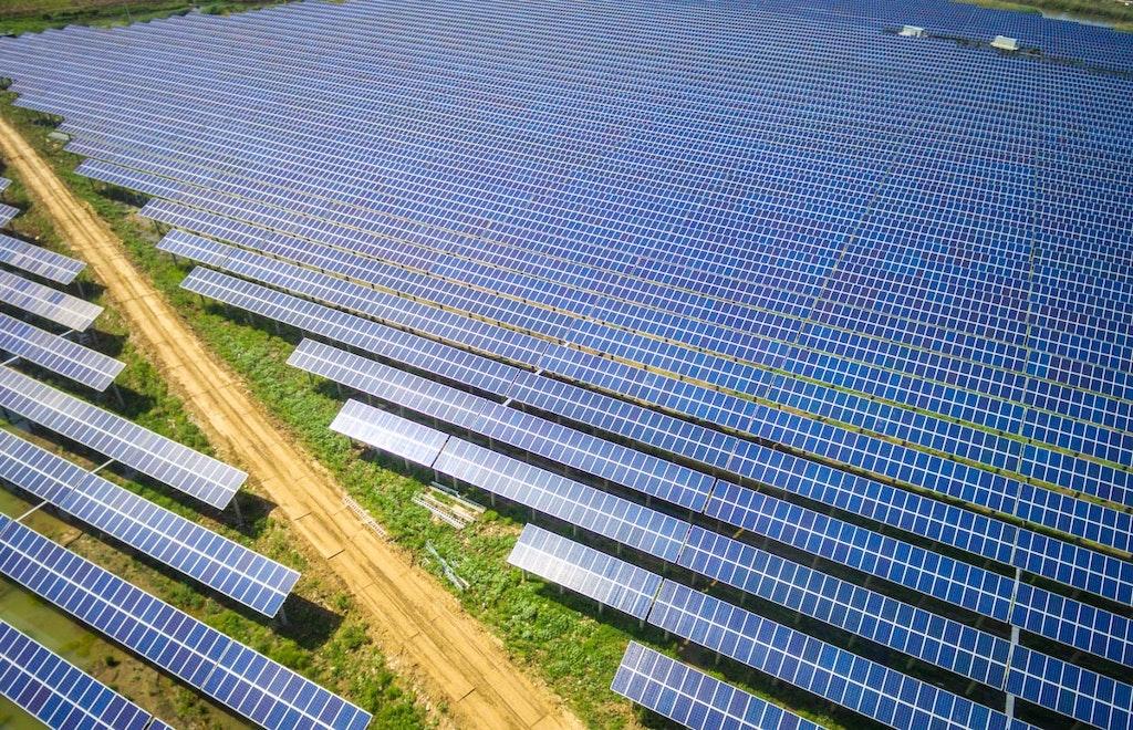 huge field of solar panels